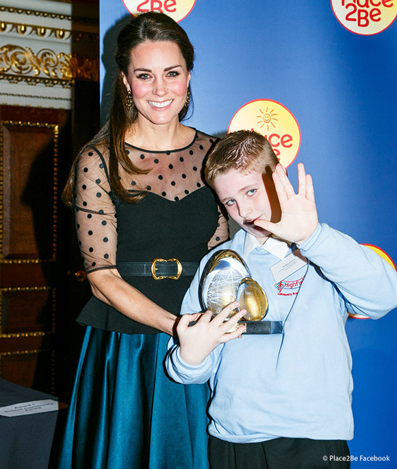 The Duchess of Cambridge with Bailey Dunne (11), winner of the child/young person award. Bailey is doing a sign from Star Trek!