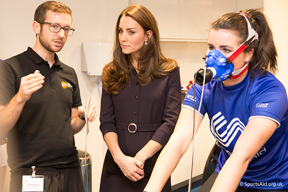The Duchess of Cambridge, Patron of SportsAid, talks to a GSK scientist at the Human Performance Lab. Credit Nathan Gallagher/SportsAid.