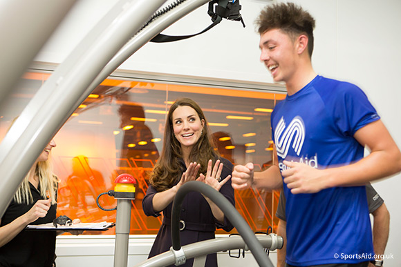 The Duchess of Cambridge, Patron of SportsAid, meets golfer Marco Penge at GSK's Human Performance Lab. Credit Nathan Gallagher/SportsAid.