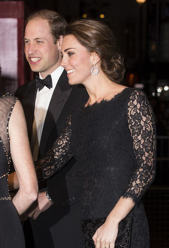 "Kate attends the Royal Variety Performance at the London Palladium wearing the black lace """" dress by DVF"