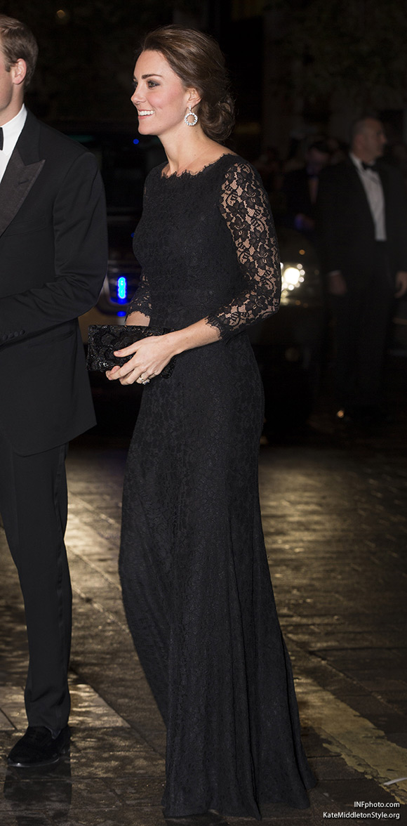 Duchess Catherine wore a floor-length black lace gown by Diane Von Furstenberg