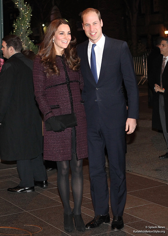 Kate in New York wearing coat by Seraphine Maternity