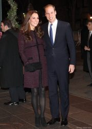 William and Kate in New York City. Kate chose a purple coat by Maternity brand Seraphine