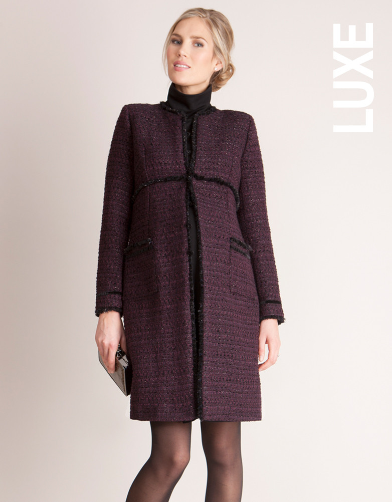Seraphine Marine Maternity Coat in Plum