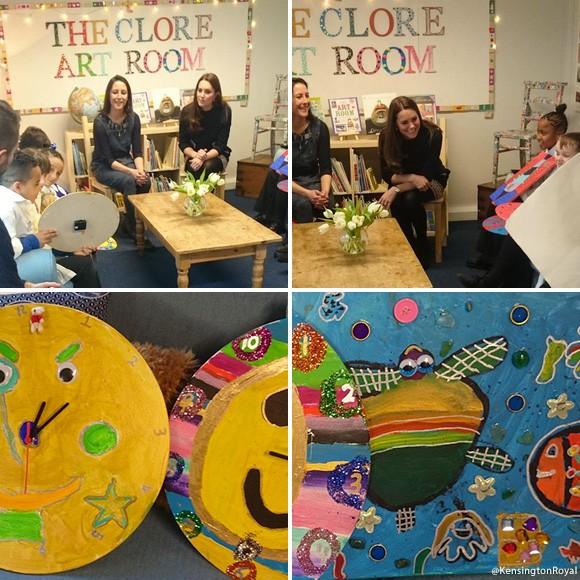 Top:  Kate meets children at The Clore Art Room.  Below:  The Children's artwork