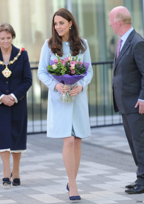 Kate in baby blue Seraphine coat for Kensington engagements today