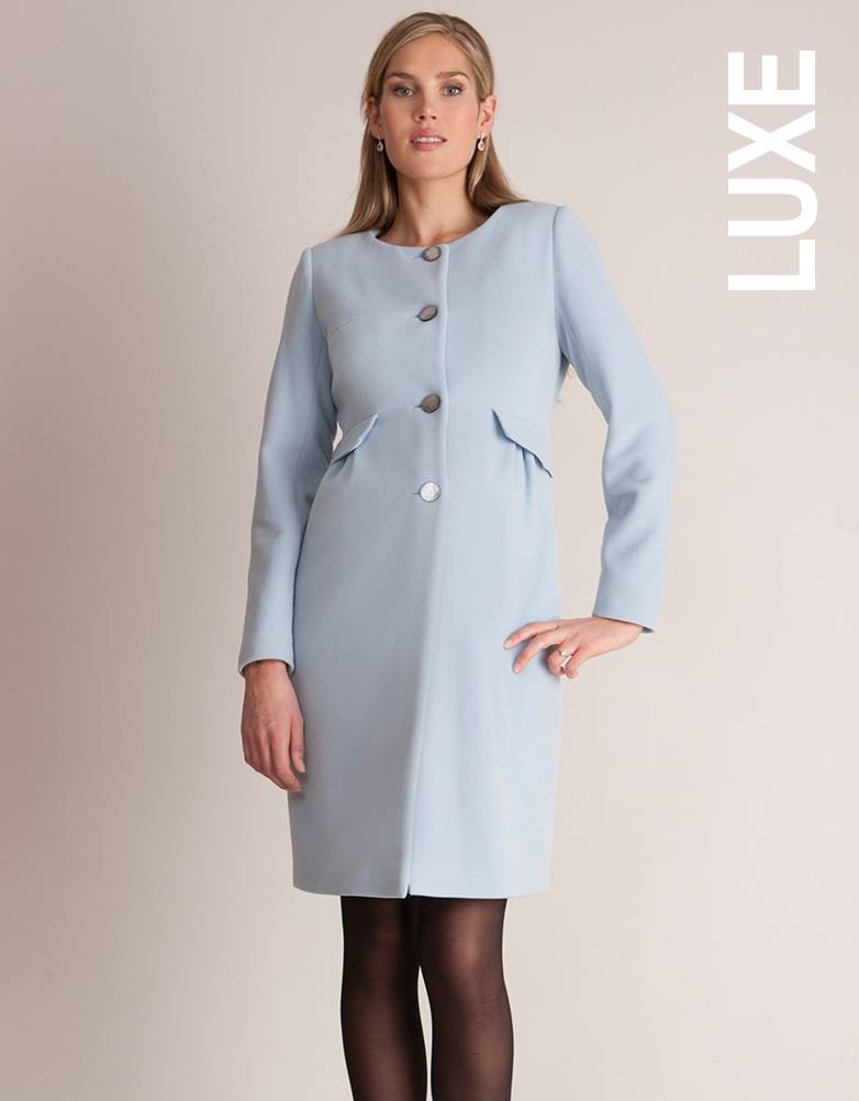 Seraphine Natasha coat in soft mist blue.