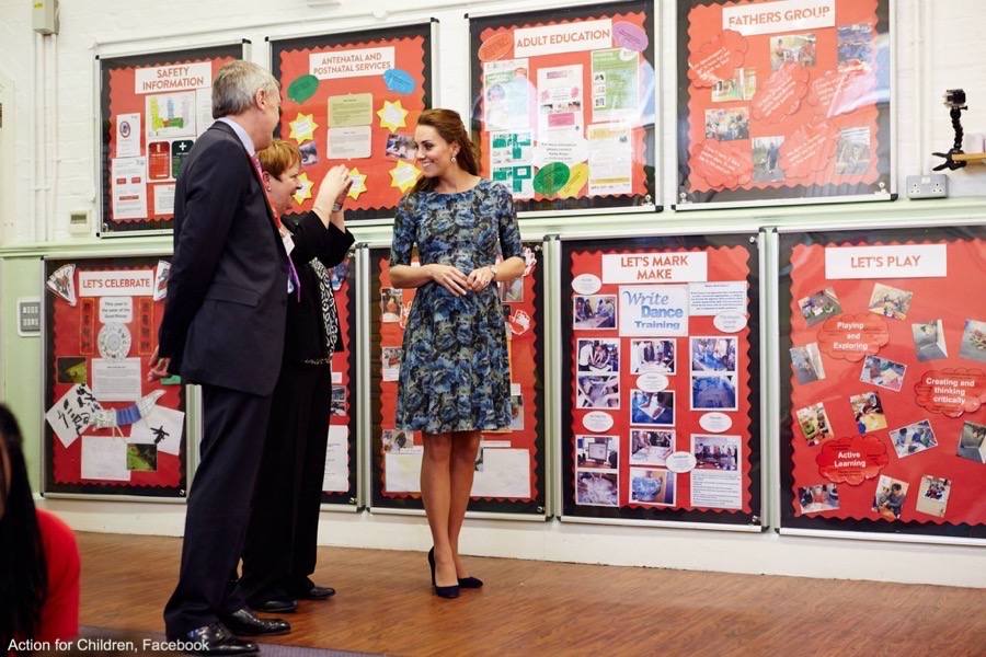 Kate Middleton visits an Action for Children centre wearing the Seraphine Florrie Dress