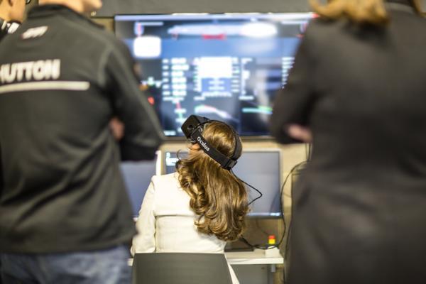 Duchess of Cambridge using a virtual reality simulator today, via @BenAinslieRacin on Twitter