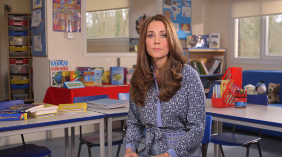 Duchess of Cambridge in Jaeger Silk Tile Print Shirt Dress for Place2Be's Mental Health Week Video