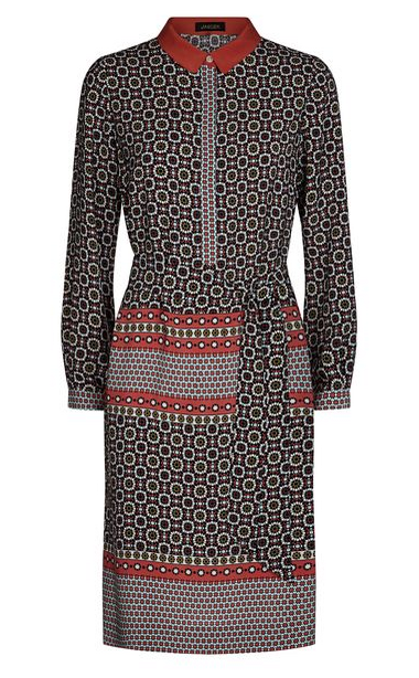 Jaeger Silk Tile Print Shirt Dress Paprika