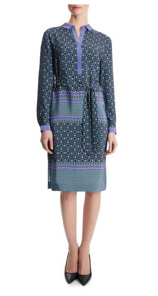 Jaeger Silk Tile Print Shirt Dress