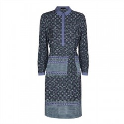 Jaeger Tile Print Silk Shirt Dress in Blue