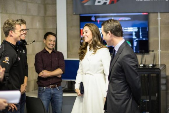 "Kate meets Sir Ben Ainslie, David ""Freddie"" Carr, James Roache and Nick Hutton."