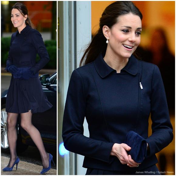 "Kate visiting Place2Be wearing MaxMara ""SportMax"" Moto Jacket"