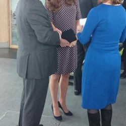 Kate is nautical in navy & white for Portsmouth visit