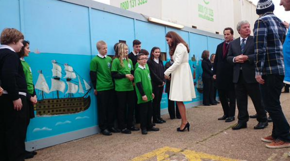 Duchess Kate meets local school children at Ben Ainslie Racing HQ