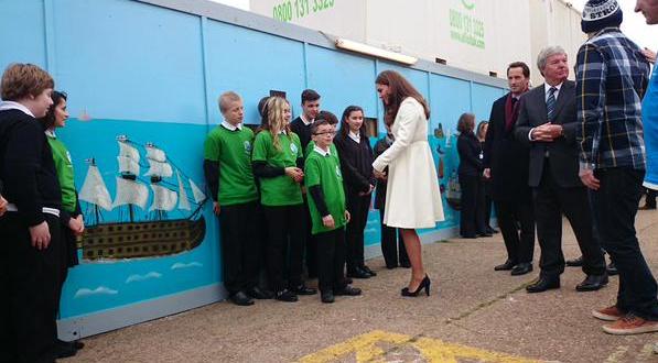 Duchess Kate meets local school children at Ben Ainslie Racing HQ