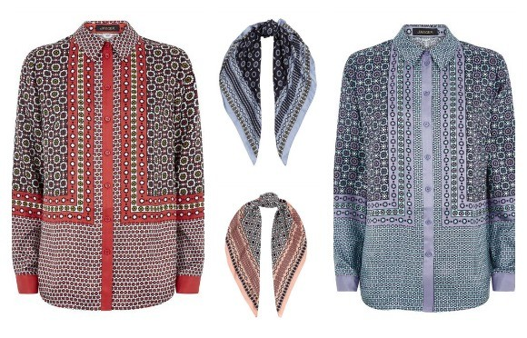 Jaeger Tile Print Shirts and Scarves