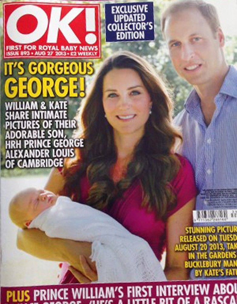 Kate Middleton wearing the pink Seraphine Maternity dress on the cover of OK magazine