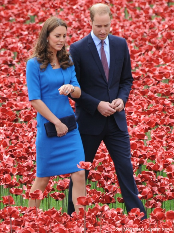 Kate Middleton wear the blue LK Bennett Detroit dress during a visit to the Tower of London to visit the poppy installation