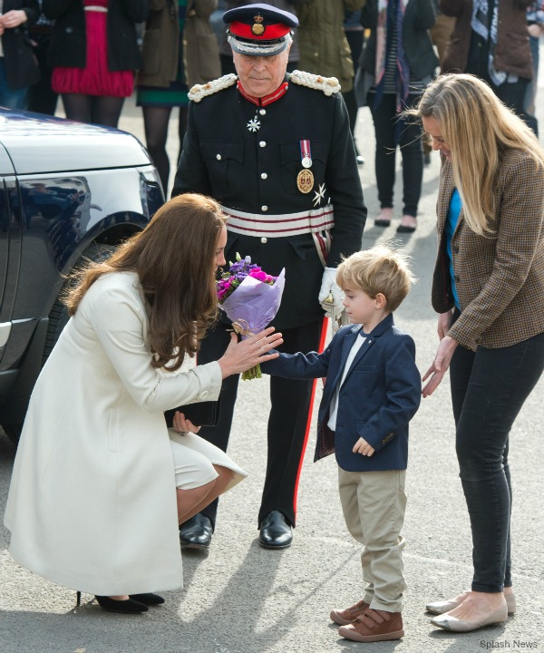The Duchess meets the little boy who plays George Crawley in Downton Abbey