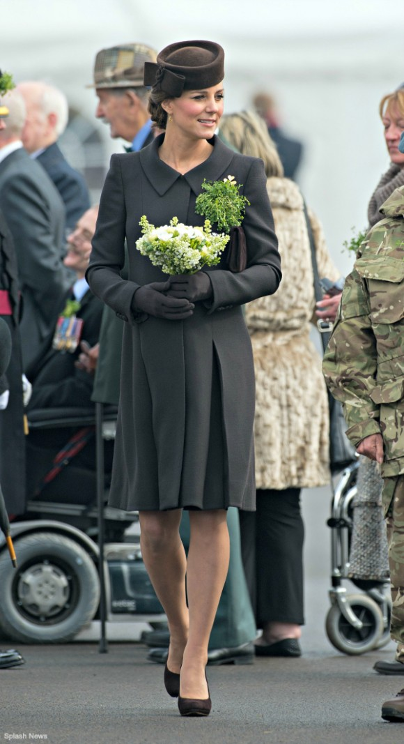 The Duchess of Cambridge's outfit at the St. Patrick's Day Parade for the Irish Guard in Aldershot