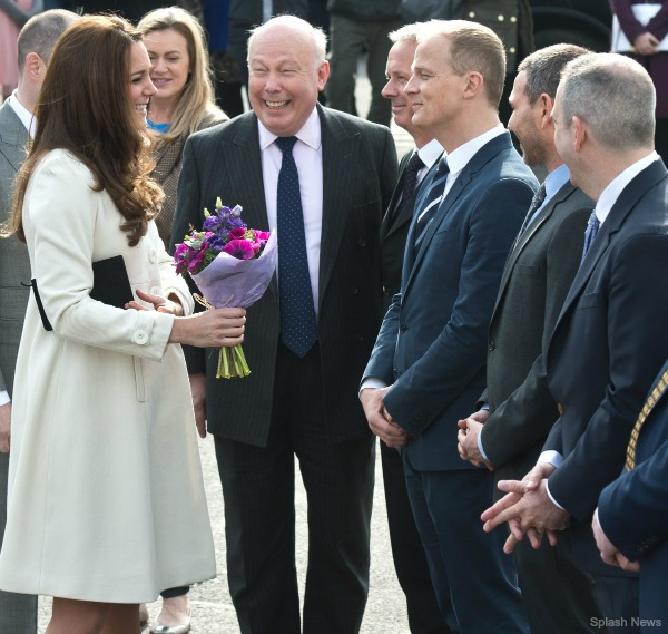 Kate visits the set of Downton Abbey, here she's speaking with Lord Julian Fellowes