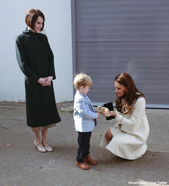 Kate is presented with the train for Prince George