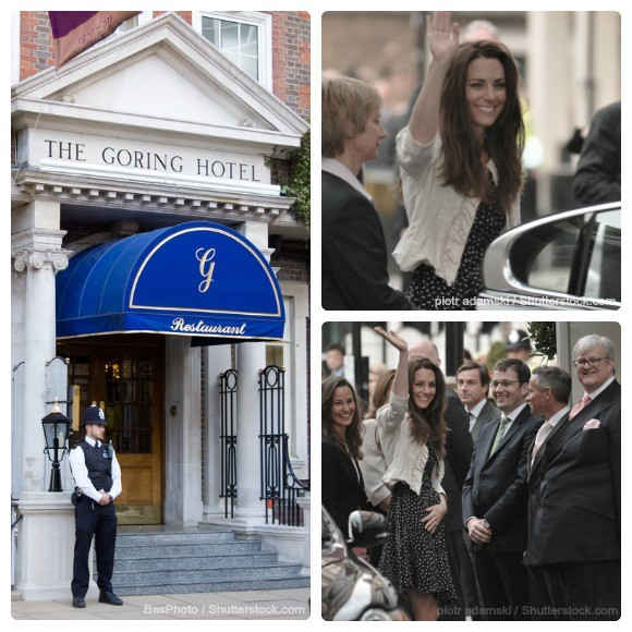 """Kate Middleton"" outside the Goring Hotel prior to her wedding"