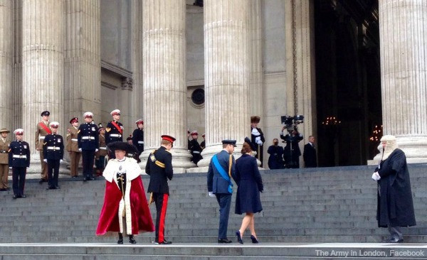 William, Kate and Harry on the Cathedral steps