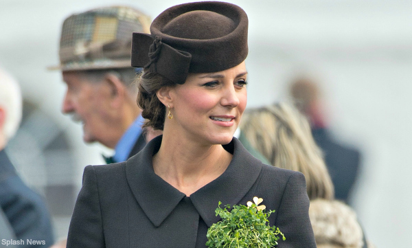 Kate in brown Catherine Walker coat dress for annual St. Patrick's Day parade at Mons Barracks