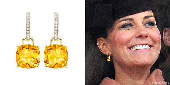 "Kate Middleton wearing Kiki McDonough's yellow citrine ""Classic"" cushion cut earrings"