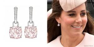 "Kate Middleton wearing Kiki McDonough's pink morganite ""Classic"" cushion cut earrings"