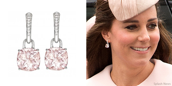"Kate Middleton wearing Kiki McDonough's pink morganite ""Classic"" cushion cut earrings"