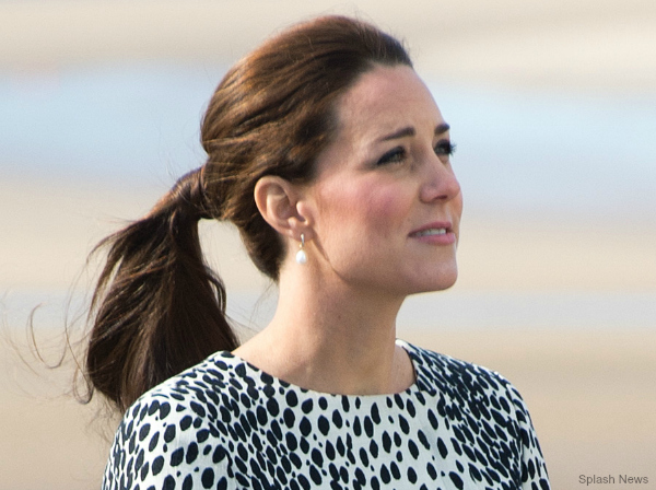 Kate Middleton wore her hair swept back in a ponytail