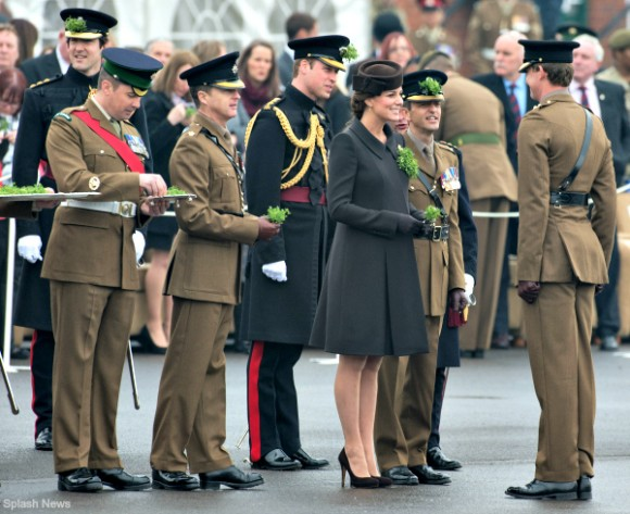 Duchess of Cambridge attends the St Patrick's Day parade at Mons Barracks, Aldershot