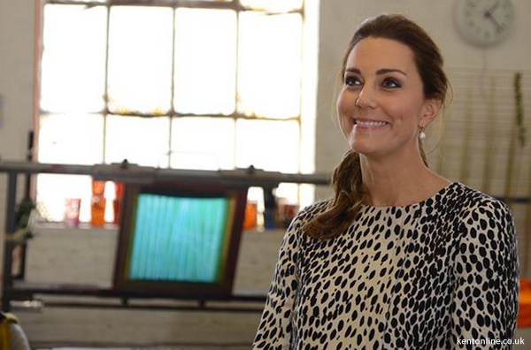 The smiling Duchess tours the studios