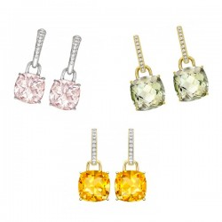 "Kiki McDonough ""Classic"" cushion cut earrings in pink morganite, green amethyst and yellow citrine"