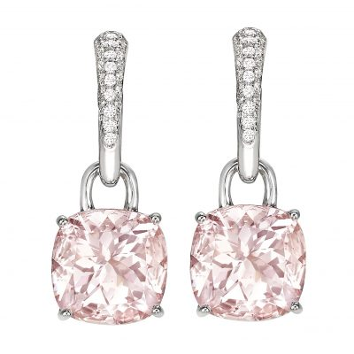 Kiki McDonough Pink Classic cushion drop earrings