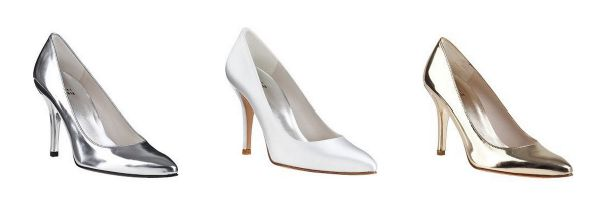 Stuart Weitzman Power pumps in white, silver and gold
