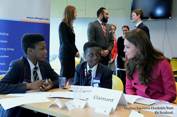 Duke and Duchess of Cambridge at the Stephen Lawrence Centre, partaking in a law workshop