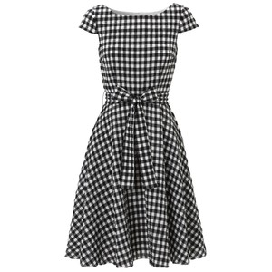 Hobbs dress in black check print with bow