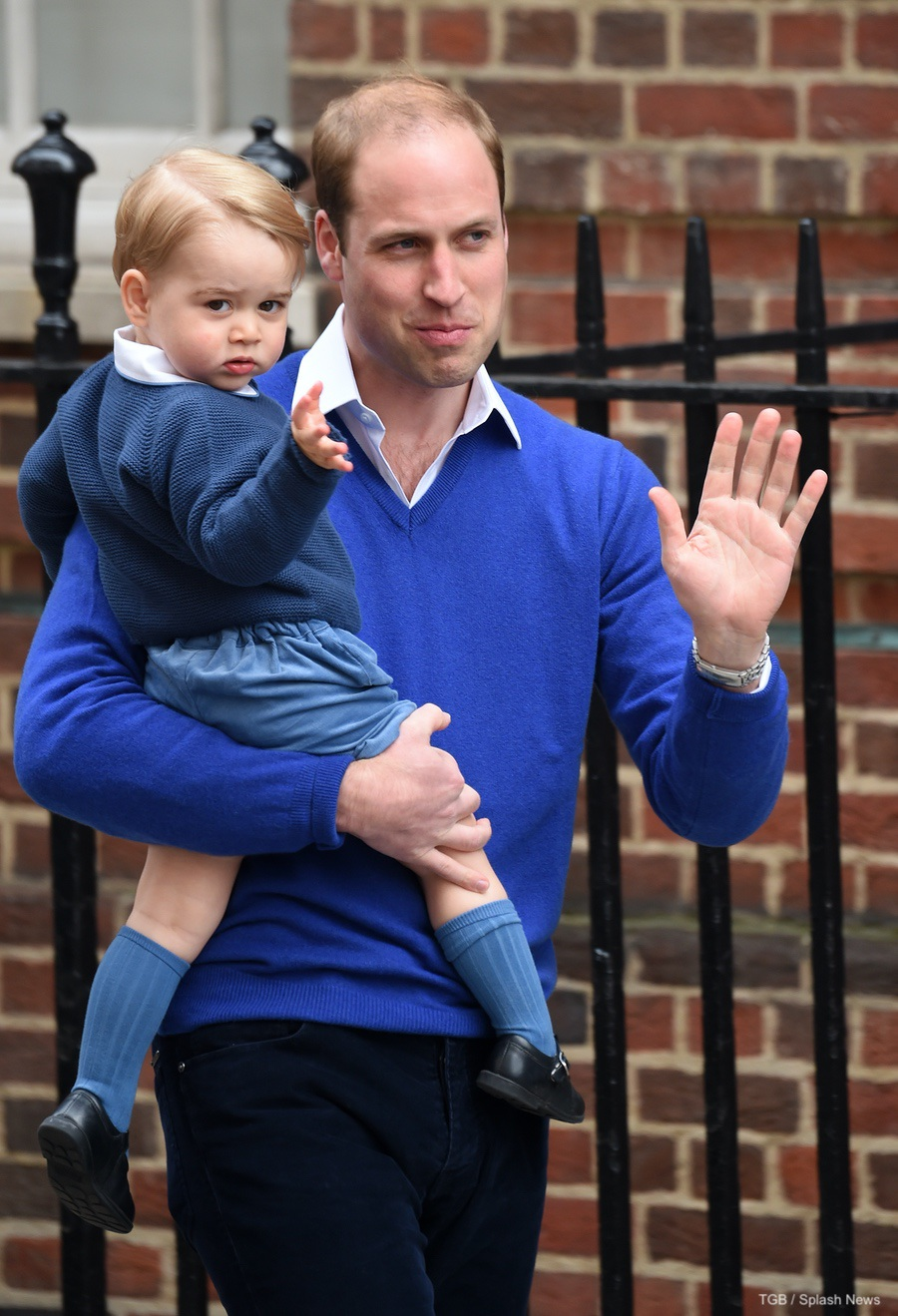 Prince George meeting his new sister at the Lindo Wing