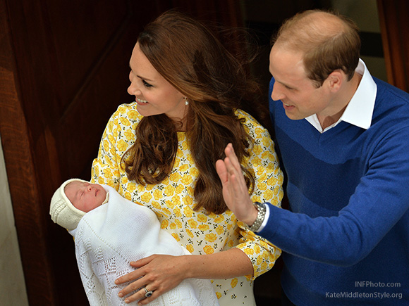William and Catherine leaving St Mary's Hospital Lindo Wing with Princess Charlotte of Cambridge