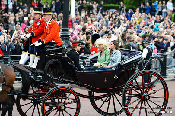 Duchesses of Cambridge & Cornwall plus Prince Harry at Trooping the Colour