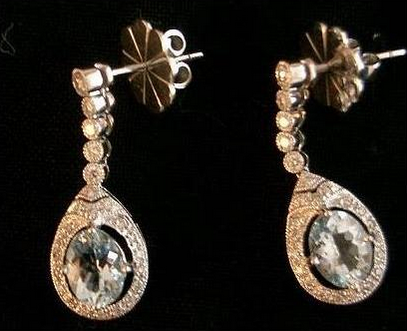 Kate's mystery diamond and aquamarine drop earrings