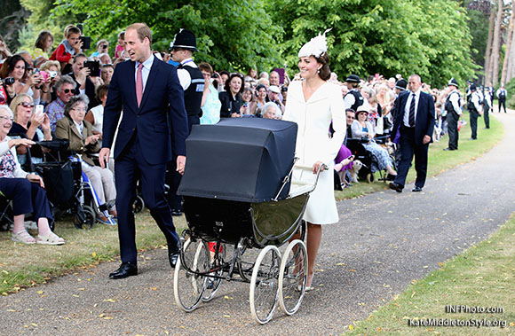 Catherine, Duchess of Cambridge, Prince William, Duke of Cambridge, Princess Charlotte of Cambridge, Prince George of Cambridge, at the christening of Princess Charlotte of Cambridge at the church of St Mary Magdalene on the Sandringham Estate in King's Lynn, UK.