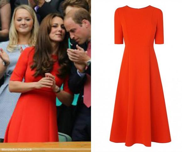 Duchess of Cambridge wears red LK Bennett dress