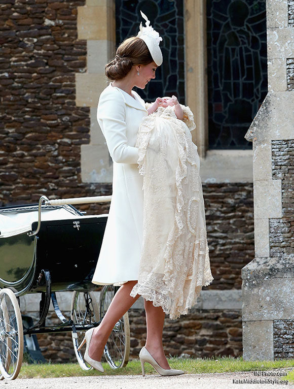***MANDATORY BYLINE TO READ INFPhoto.com ONLY***<BR /> Catherine, Duchess of Cambridge, Prince William, Duke of Cambridge, Princess Charlotte of Cambridge, Prince George of Cambridge, at the christening of Princess Charlotte of Cambridge at the church of St Mary Magdalene on the Sandringham Estate in King's Lynn, UK. <P> Pictured: Catherine, Duchess of Cambridge, Princess Charlotte of Cambridge <B>Ref: SPL1071653  050715  </B><BR /> Picture by: INFphoto.com<BR /> </P><P>